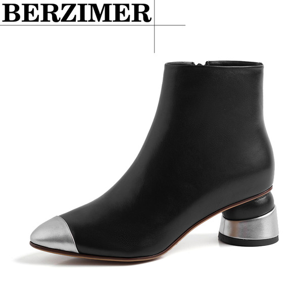 fashion women ankle boots metal pointed toe strange heels genuine leather casual botas mujer shoes woman size 34-39