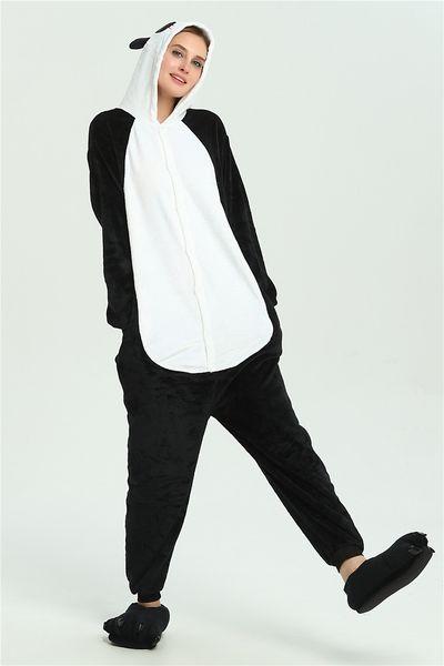 Cartoon Panda Pajamas for Women Pocket Long Sleeves White Black Hooded Adults Home Wear Mascot Costumes Sleep Wear Night Party Wear Warm