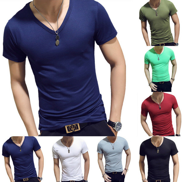 Details about Men Gym Tight Tops T-Shirt Short Sleeve Slim Fit V-Neck Casual Fitness M-2XL