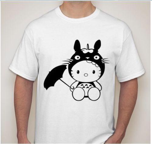 Totoro Estúdio Ghibli Olá Kitty Anime T-Shirt de manga longa Com Capuz top de tanque Das Mulheres Dos Homens Unisex Moda tshirt Frete Grátis