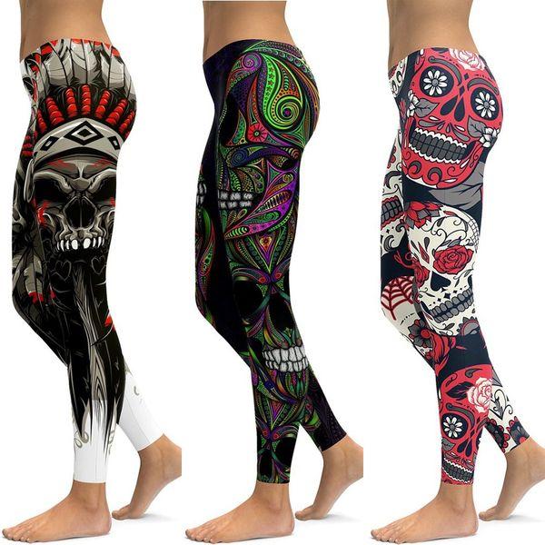 LI-FI Skull Leggings Yoga Pants Women Sports Pants Fitness Running Sexy Push Up Gym Wear Elastic Slim Workout Leggings #19921