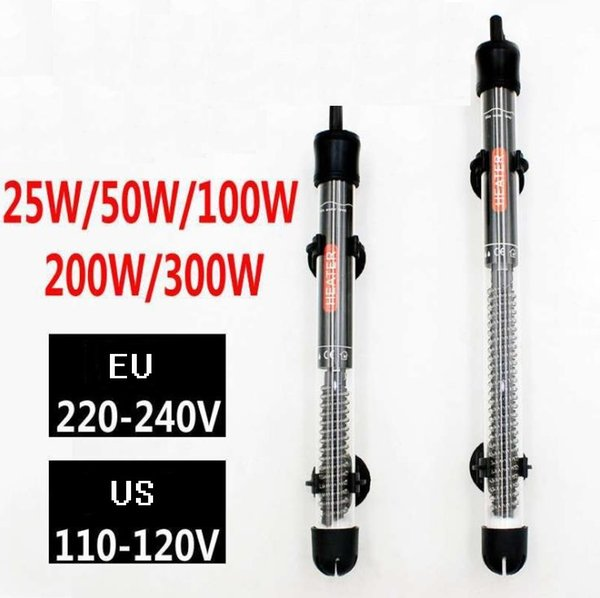 top popular 25W  100W  200W 300W 220V 110V Aquarium Submersible Fish Tank Automatic Water Heater EU US Plug DLH014 2021
