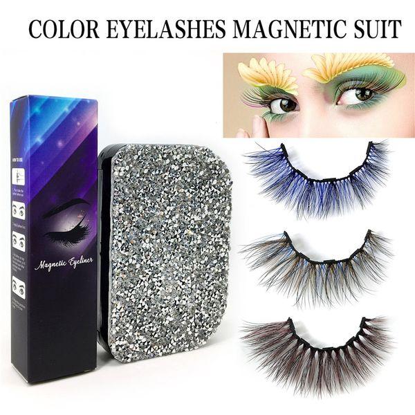 top popular New Hot Magnetic Liquid Eyeliner & Colorful Magnetic False Eyelashes Set Waterproof Long Lasting Eyeliner Eyelash Extension 2021