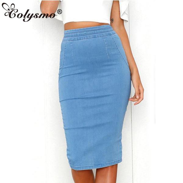 Acheter Colysmo Femmes Denim Jupes Plus La Taille Taille Haute Midi Jupe D'été Jupe Crayon Jeans Dame Longue Moulante Jupe En Jean Saia Midi Nouveau