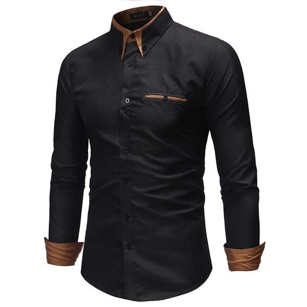 2018 Marque De Mode Hommes Chemise De Poche Décoration Robe Chemise À Manches Longues Slim Fit Camisa Masculina Casual Hommes Chemises De Grande Taille