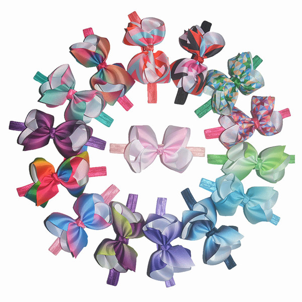 Wholsale Fashion 4.5inch thread fabric butterfly headband Rainbow gradient color headband JOJObow35 color hair accessories