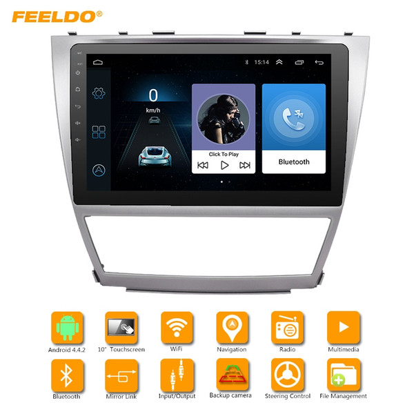 FEELDO 10.2 polegada Maior Tela HD Android 6.0 Quad Core Car Media Player Com GPS Rádio Navi Para Toyota Camry XV40 / Daihatsu Altis # 4683