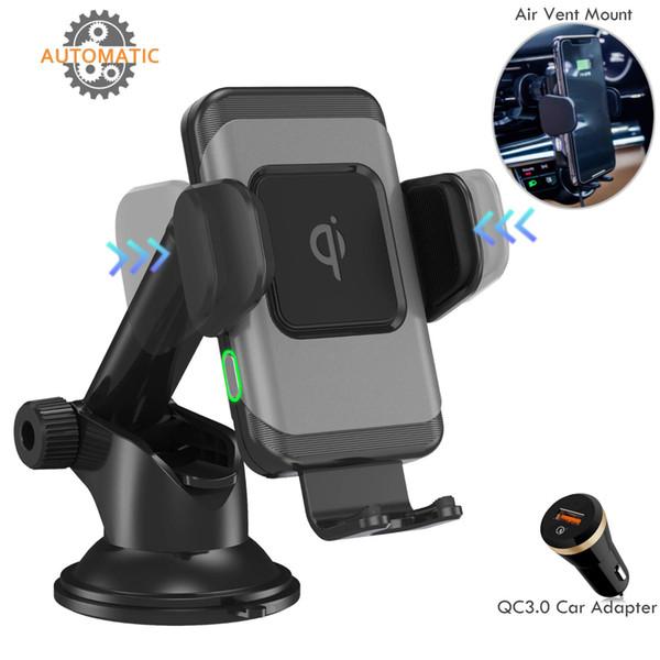Kablosuz Araç Şarj-Bir El Operasyonu, Otomatik Sıkma Qi 10 W / 7.5 W Hızlı Kablosuz Şarj Araç Montaj iPhone Xs ile Uyumlu Max / XR / X / 8 Artı