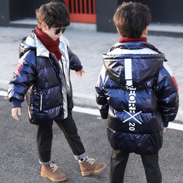 Meninos Brilhante Para Baixo Casaco Crianças Inverno Pato Branco Para Baixo Casaco Crianças Quente Grosso Com Capuz Moda Roupas Azul Preto