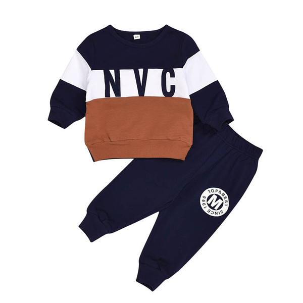 Ins hot sale kids tracksuit set boys tracksuit baby tracksuit casual toddler suits toddler boy designer clothes t shirt+pants 2pcs A8480