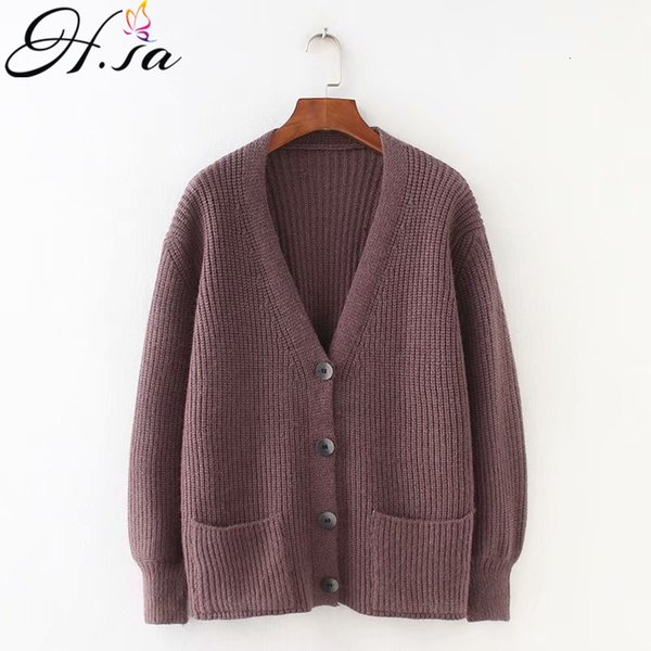 H.SA 2019 Women Cardigans Sweater V neck Solid Loose Knitwear Single Breasted Casual Knit Cardigan Outwear Winter Jacket CoatMX190928