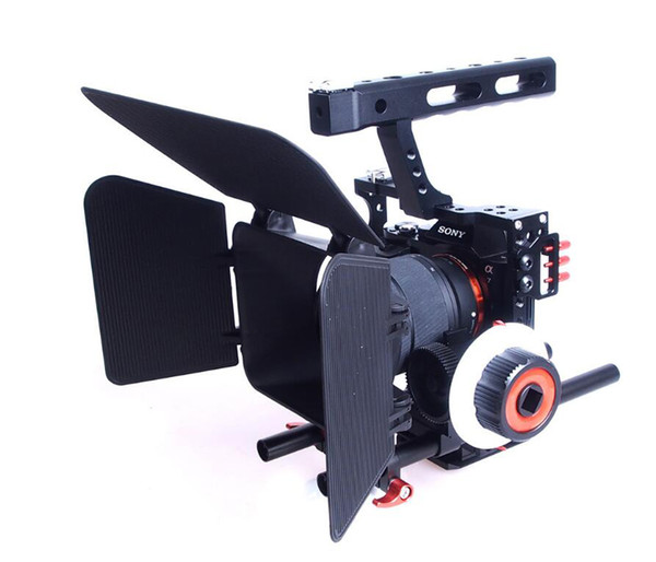 Freeshipping 15mm Rod Rig DSLR Camera Video Stabilizer Cage +Follow Focus + Matte Box for Sony A7 A7S A7RII A6300 A6000 /GH4 GH3 /EOS M5 M3