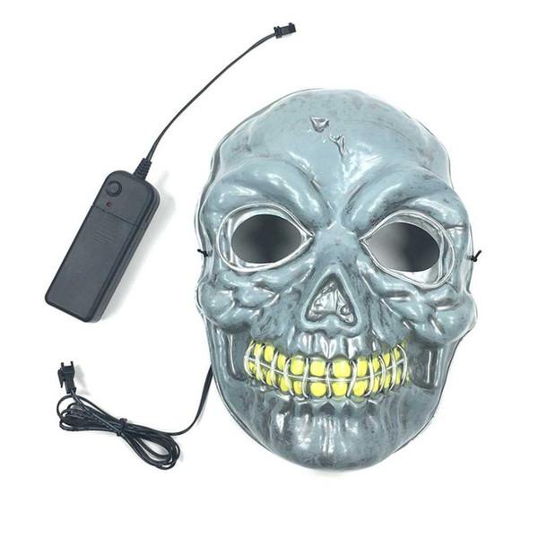 EL ile Cosplay Kafatası Maskesi Işık Korkunç Maske Korkunç İskelet Sahne Özellikleri İçin Parti Dans Halloween Soğuk