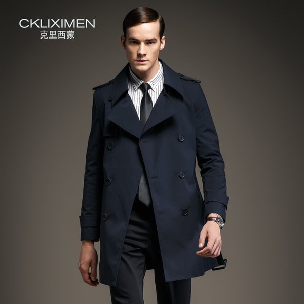 Wholesale- New arrive British Style double breasted mens long trench coat brand business casual windbreaker jacket overcoat men
