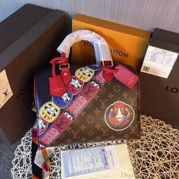 2019 M40281 Kırmızı Boston Bags Çanta Totes Omuz Çantaları Hobo Çantalar En Kolları Boston Çapraz Vücut Messenger Omuz Çantaları Kolları