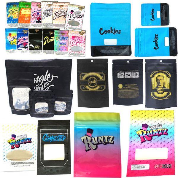 best selling Runtz Chuckles Zipper Bags Cookies Connected Jungle boys Garrison Lane Alien Labs Package E Cig DHL Free