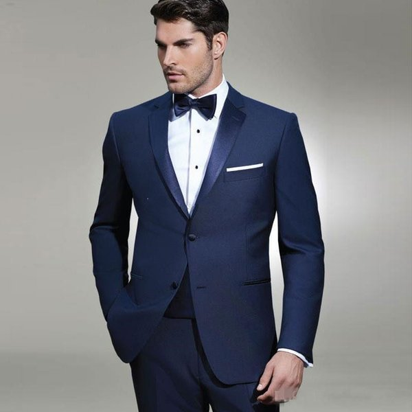 New Fantastic Style Two Buttons Blue Wedding Groom Tuxedos Notch Lapel Groomsmen Mens Dinner Blazer Suits (Jacket+Pants+Tie) 307