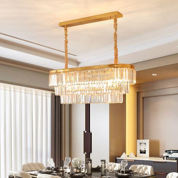 American luxury rectangle crystal pendant chandelier lighting gold crystal chandeliers lamp led pendant lights for restaurant dining room