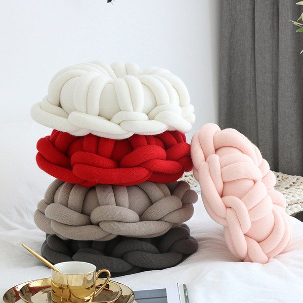 Decorative Knot Throw Pillow Round Doughnuts Candy Knotted Floor Bed Sofa Cushion Nursery Kids Room Decor Pink Grey Blue