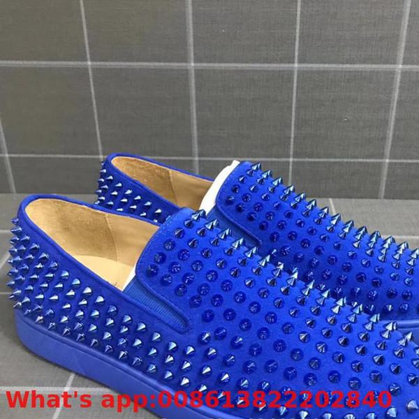 Lüks Mavi Süet Deri Kırmızı Altları Üzerinde Kayma Ayakkabı Erkekler Için Düşük Kesim Eğlence Renk Perçin Rahat Modeller Düz Loafer'lar
