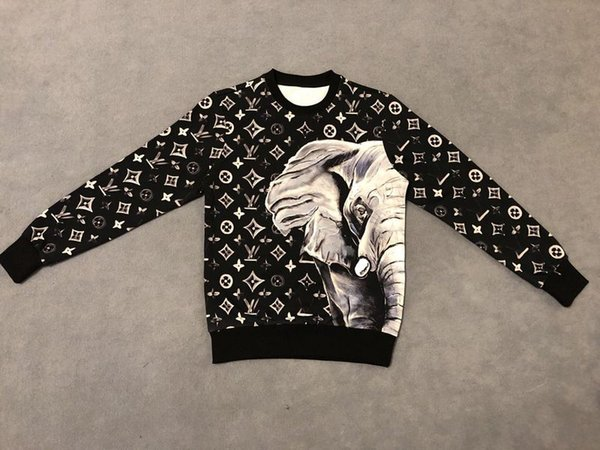 19ss mens designer hoodies jumper moletons elefante alta monograma imprimir nova etiqueta tripulação pescoço roupas