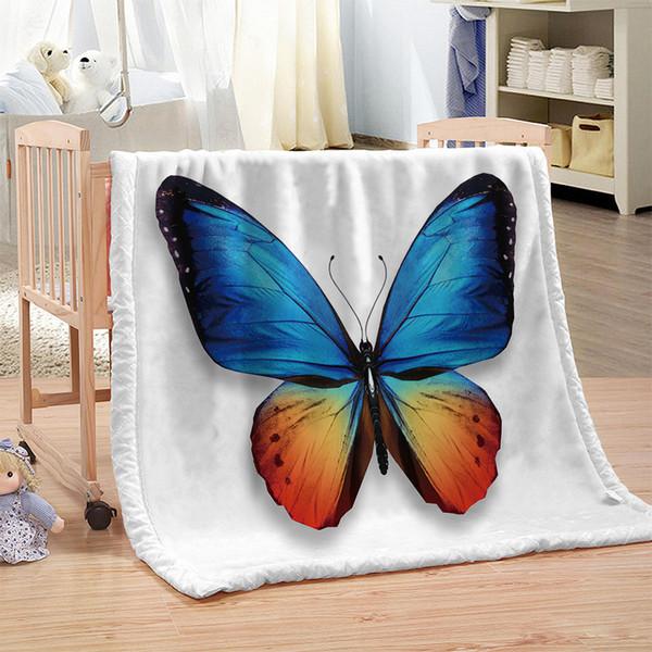 Dropship Personnalisé DIY Papillon Imprimer Couverture De Lit En Microfibre De Bande Dessinée Couverture De Jeté pour Enfants Coloré Textiles À La Maison Sweet Dream