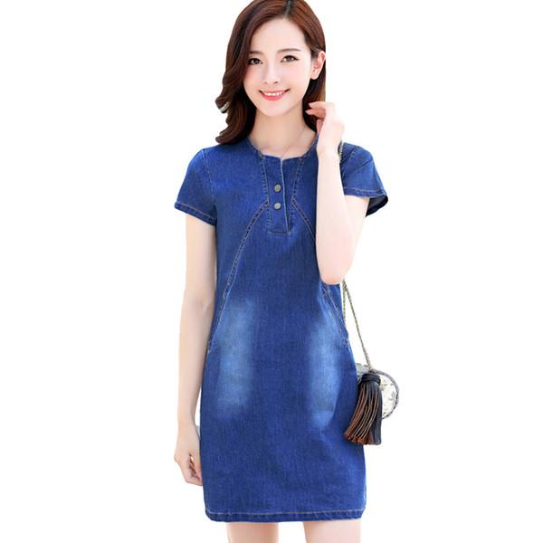 2019 Spring Autumn New Denim Dresses Women Slim Package Hip Sheath Dress Fashion Plus Size Mini Dress Re0794