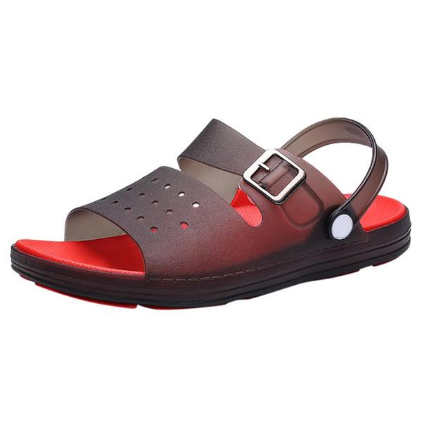 MUQGEW Sandalia de los hombres Zapatos de verano Sandalias Transpirable Calzado Masculino Caucho Ocasional Al Aire Libre Plana Tobillo Antideslizante Zapatillas de Playa Hombres