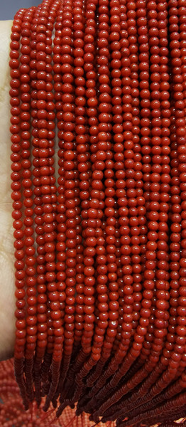 best selling 5strands genuine rare Red Coral Smooth Round Beads Natural Stone Gemstone 3-4mm 16inch