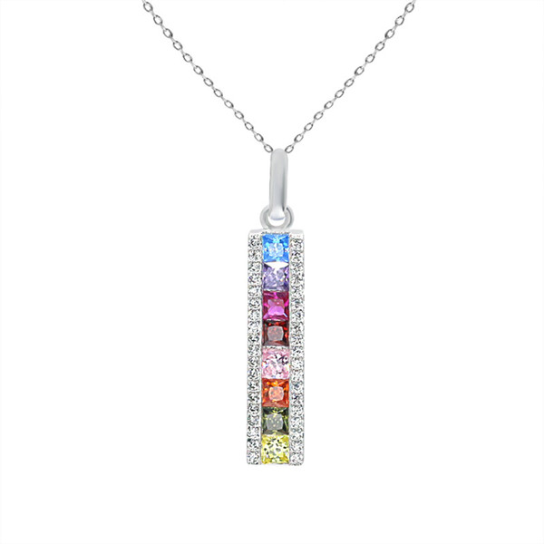 New Seiko Light Luxury S925 Silver Necklace Fashion Hundred Rainbow Pendant Korean Edition Jewelry Necklace Wholesale
