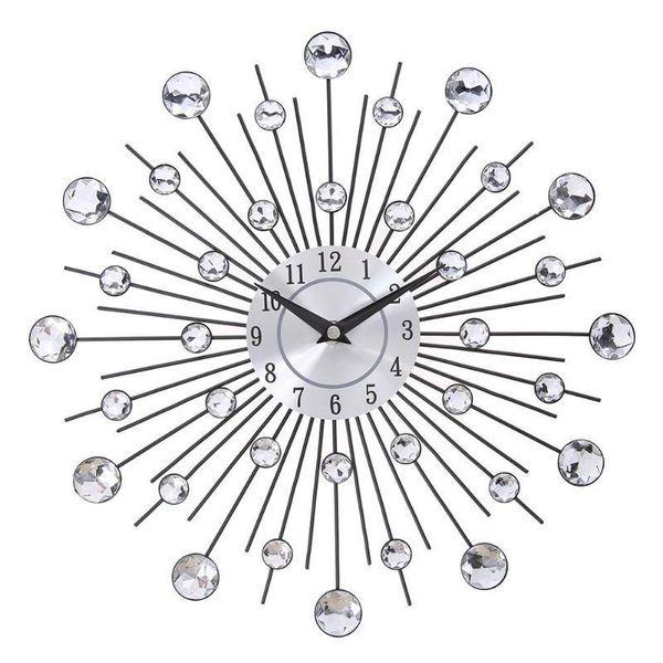 Vintage Métal Cristal Sunburst Horloge murale Grand Morden mur Horloges Home Design Art Décor de grande taille Salon