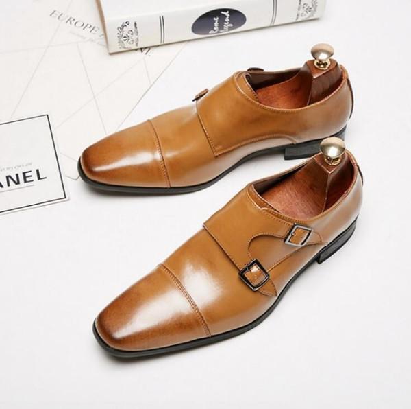 Japon iş deri ayakkabı, erkek resmi ayakkabı, rahat moda ayakkabılar, üç monkke toka keşiş ayakkabı düğün ayakkabı W64