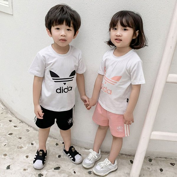 Kids Designer Clothes Set Boys Girls AD Letter T shirt + Shorts Tracksuit Two Piece Brand Short Sleeve Summer Sportswear Casual OutfitC52501