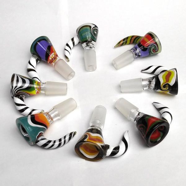 Bol pour bong en verre entonnoir bols tuyaux diapositives épaisses Bong Pièce de couleur pour fumer coloré Heady Wholesalers Rigs de pétrole pièces 14mm 18mm Glisser Dab