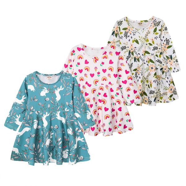Mikrdoo 2019 nouvelle arrivée enfants bambin bébé fille parti robe manches longues dessin animé floral arc en ciel robes mignonnes