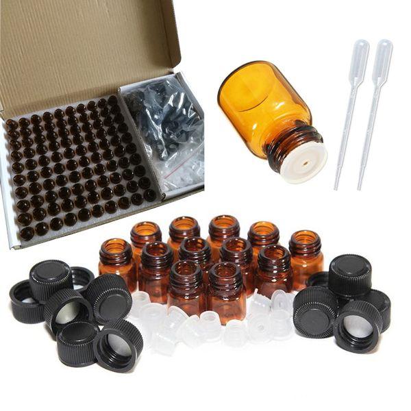 Paquete de 100 ml 1 ml de 2 ml de botellas de muestra de aceites esenciales de vidrio ámbar con tapas negras para aceites esenciales Productos químicos de laboratorio, goteros de plástico de colonias