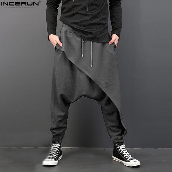 Erkekler Derin Kasık Pantolon Hip Hop Harem Erkekler Pantolon Elastik Bel Gevşek Baggy Swag Rahat Artı Boyutu Marka Giyim Homme