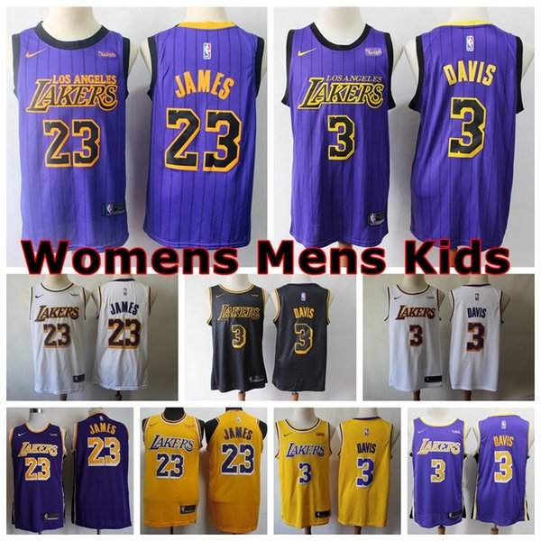 detailed look 468f4 33a7d 2019 2020 Womens Mens Kids Los Angeles Laker 3# Anthony Davis Swingman  Basketball Jersey Authentic 23# LeBron James Jersey Embroidery Wish Logo  From ...