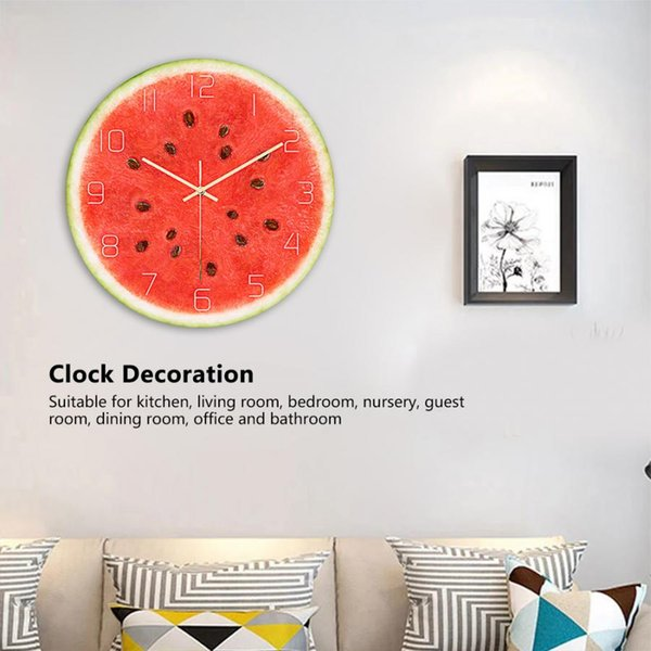 Watermelon Pattern Acrylic Office Home Room Wall Hanging Round Clock Time Display Decoration