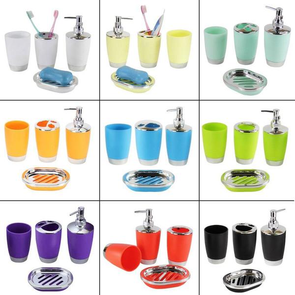 4 Teile / satz Badzubehör Sets Kunststoff Shampoo Presse Flasche Waschen Gurgeln Tasse Zahnbürstenhalter Seifenschale Badzubehör