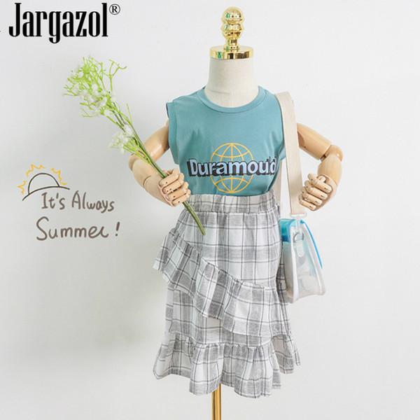 Kızlar Giysi Set Yaz Kıyafetleri Eşofman Mektup Baskılı Gömlek ve Ekose Etek Moda Çocuklar için 2 adet Setleri Serin Setleri