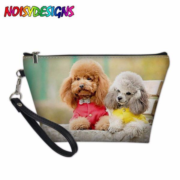 Travel Dog Pattern Cosmetic Bag Multifunction Women Toiletries Organizer Poodle Dog Print Makeup Bags Storage Make Up Case