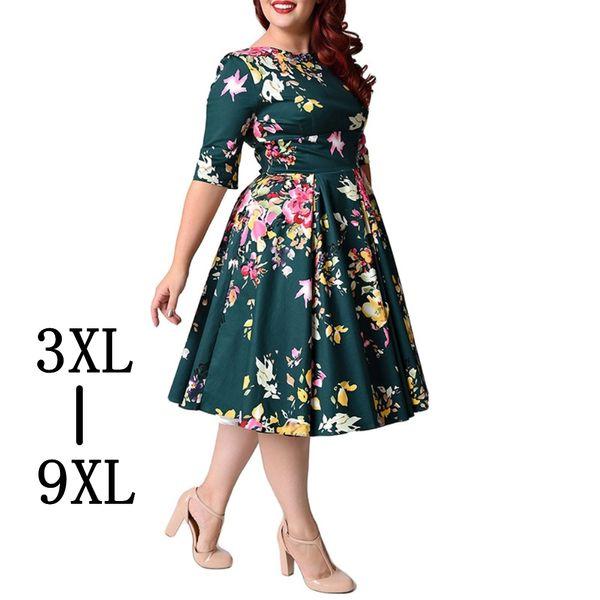 Retro Large Size 6XL 7XL 8XL Women Dress Vintage Zipper Floral Print Tunic  Big Swing Dress Plus Size Dresses For Women 4XL 5XL Canada 2019 From ...
