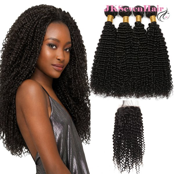 10A Grade Brazilian Remy Curly Wave Hair Bundles 4pcs With 4x4inch Lace Closure Peruvian Malaysian Indian Hair Weaves With Free Part Closure