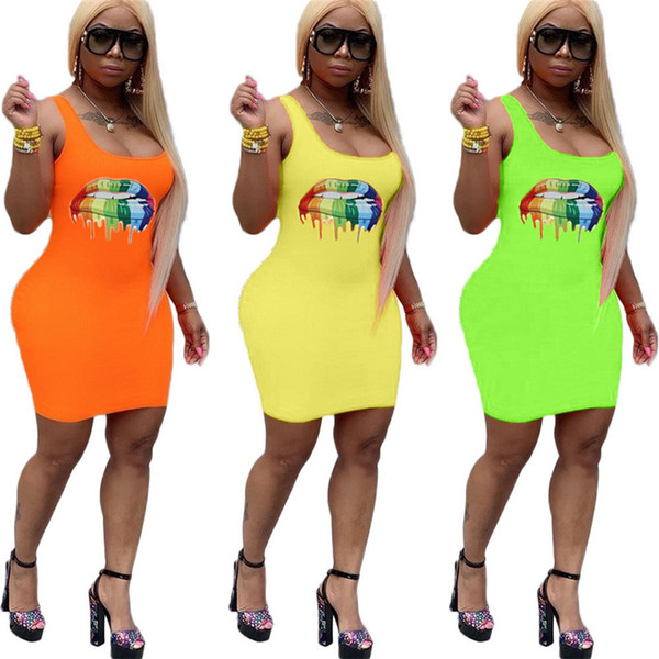 Colored Lips Sleeveless Bodycon Dress Women Low Cut Short Skirts Big Mouth Printed Long Skinny Tank Vest Skirt Beach Sports Clubwear C62709