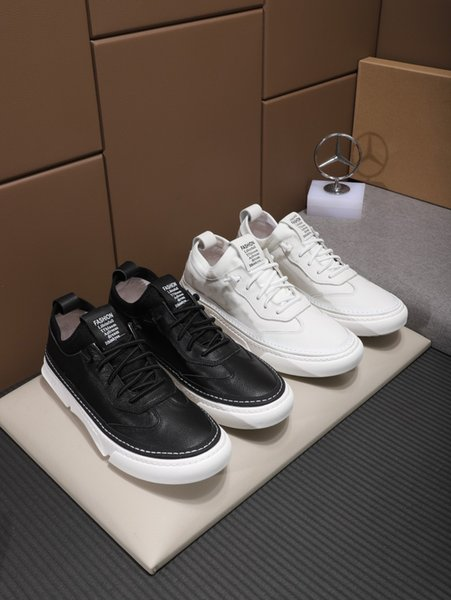 2019 top craft men's casual shoes fashion design leather fabric flat shoes leather pad comfortable and durable original box delivery