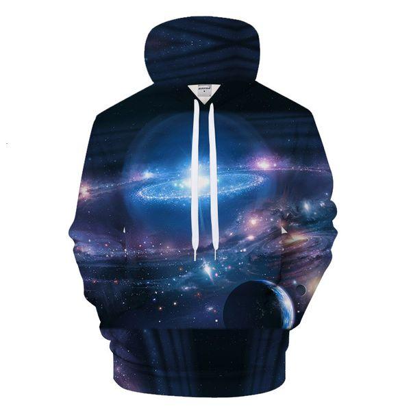 Even Hoodie Starry Sky Universe Printing Easy Bring Hat Lovers Sweater