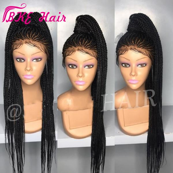2019 NOVO Cornrow trança peruca cheia sintética Box tranças do cabelo rendas frente Wigs / Dark Long Black marrom / Borgonha / louro Africano americano Wigs
