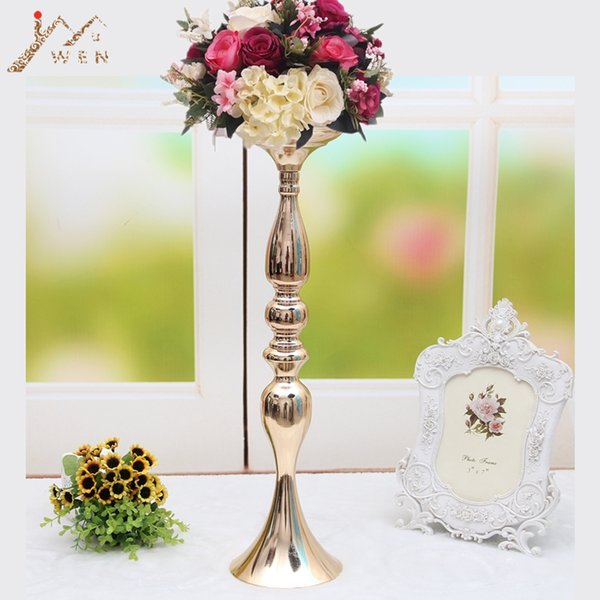 "10 Pcs/lot Gold Candle Holders 50cm/20"" Flower Vase Candlestick Wedding Decoration Table Centerpieces Flower Rack Road Lead Y19061804"