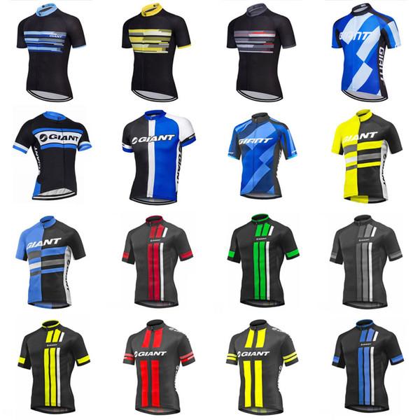 Гигантская команда Велоспорт короткие рукава Джерси дышащий быстро сухой полиэстер топы открытый спортивная одежда качество лето мужская F52422